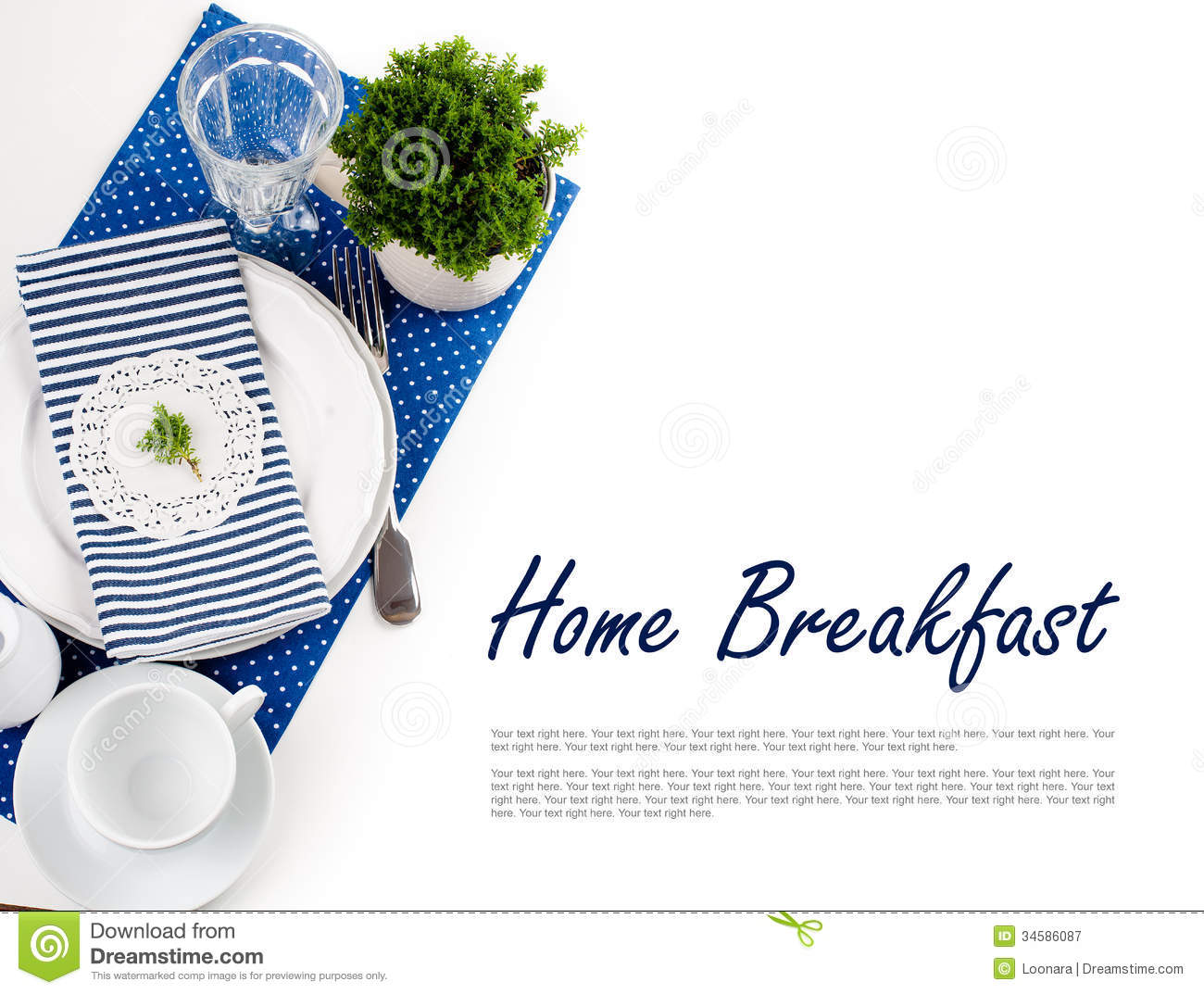 Table Setting For Breakfast Table Setting For Breakfast In Navy Blue Tones Royalty Free Stock