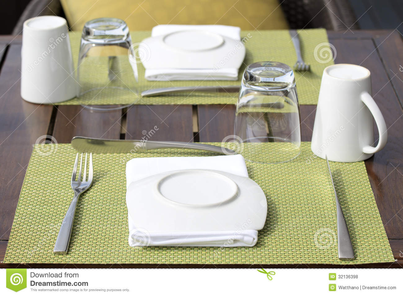 Table setting for breakfast stock photo image of goblets