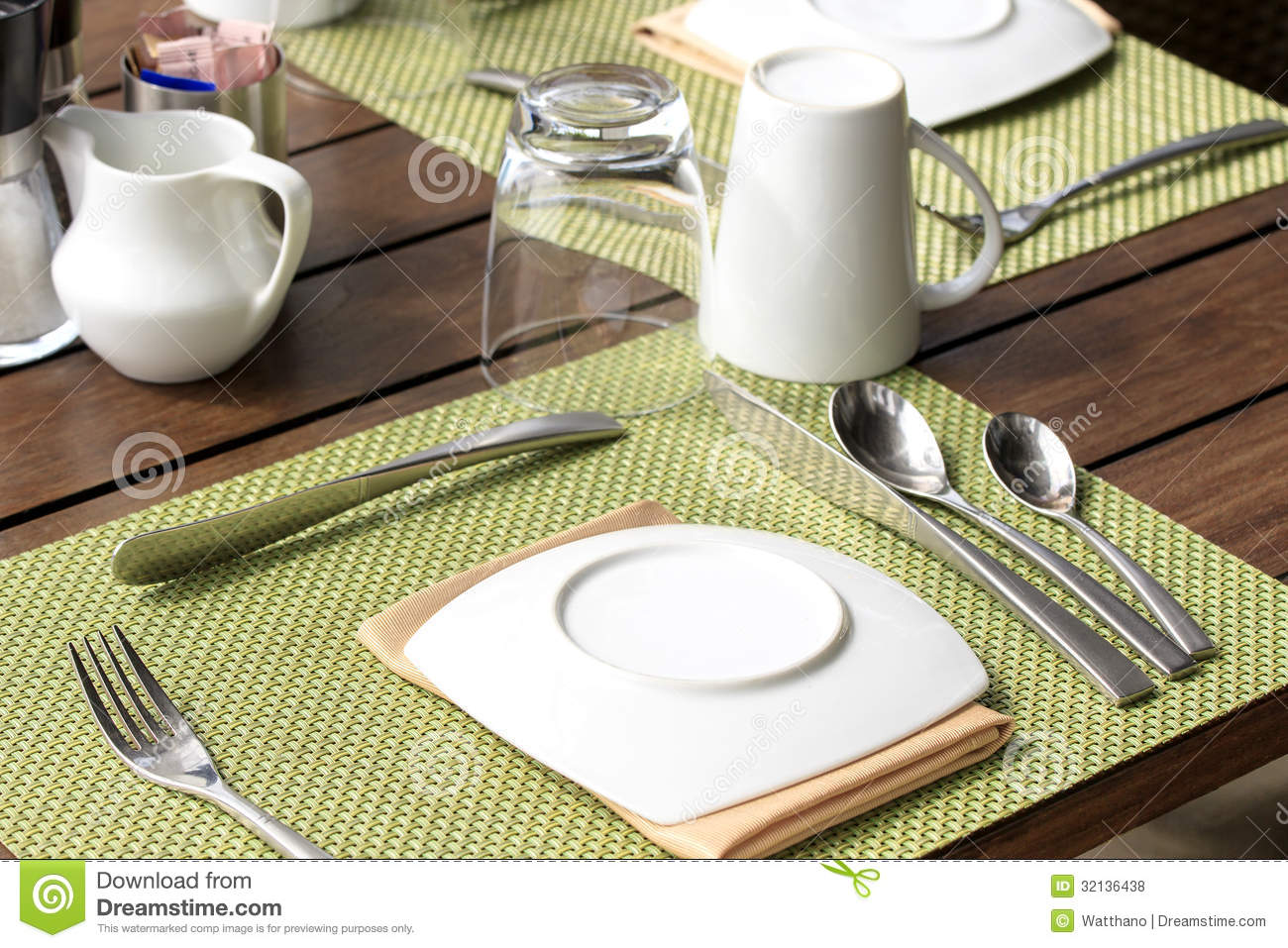 Table setting for breakfast stock photo image of food