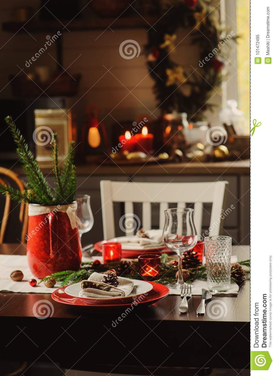 Festive table for the New Year of 2019 Pigs 19