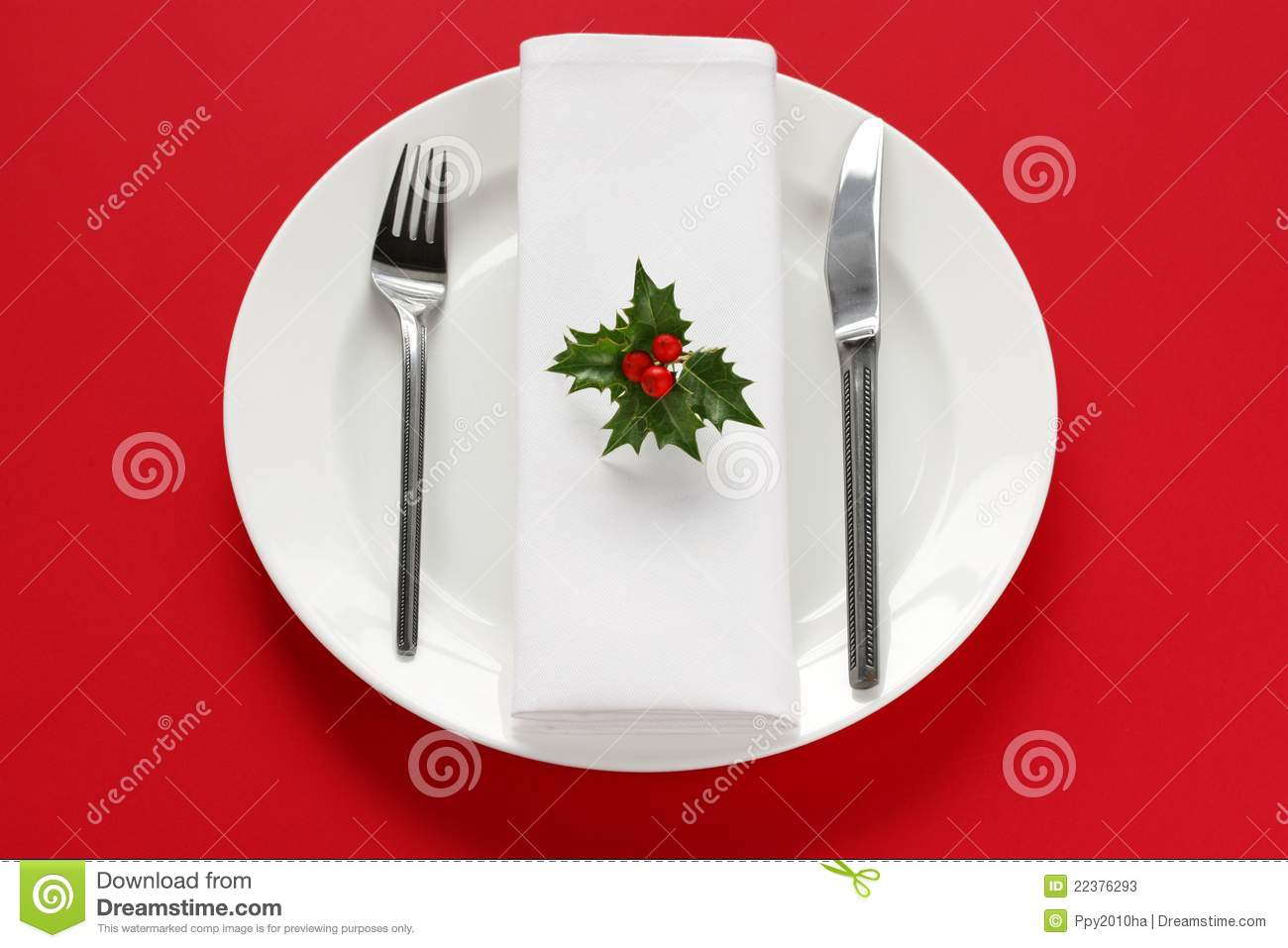 Table Setting For Christmas Dinner Stock Image Image