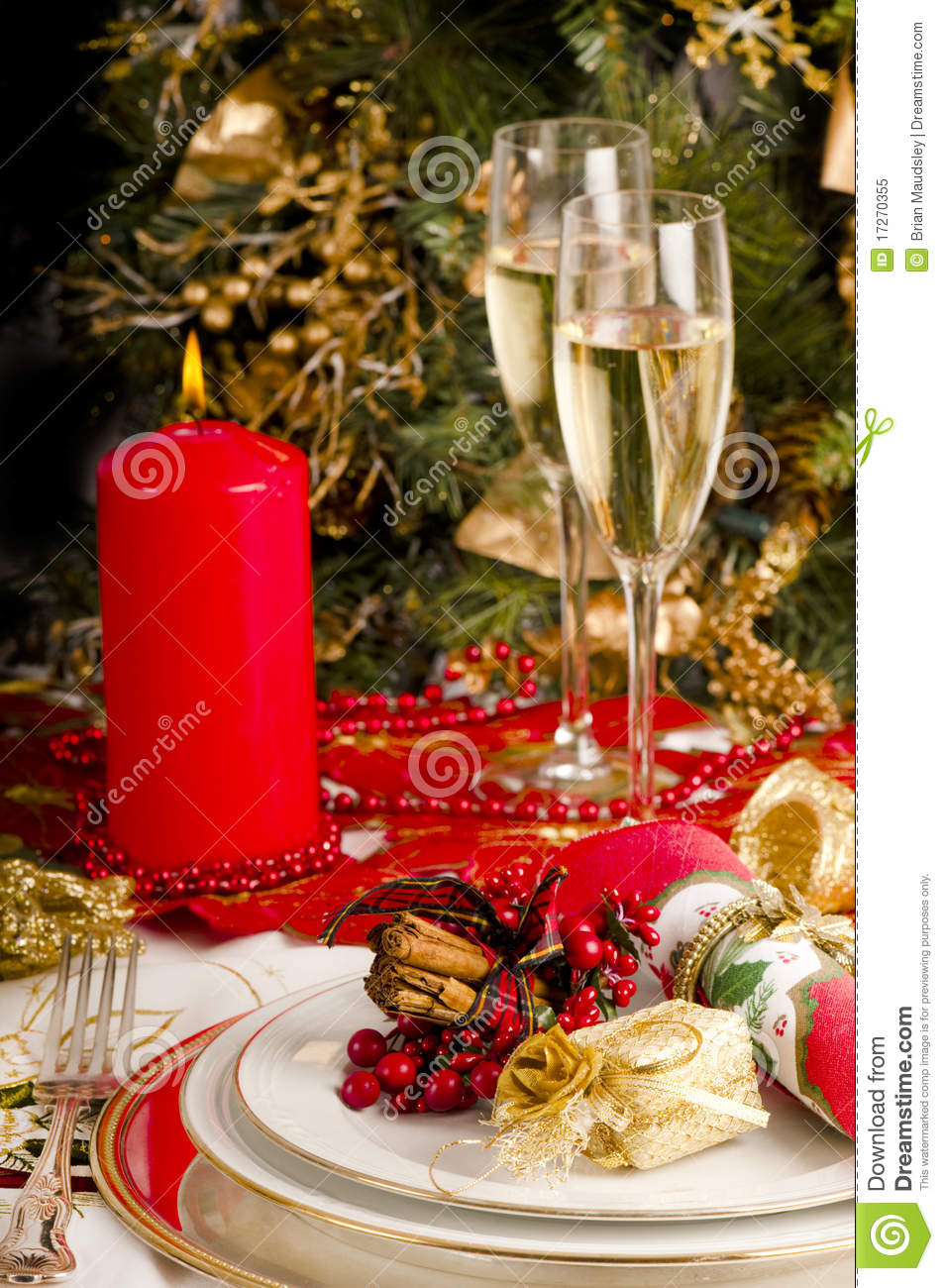 Table Setting For Christmas Meal Stock Image Image