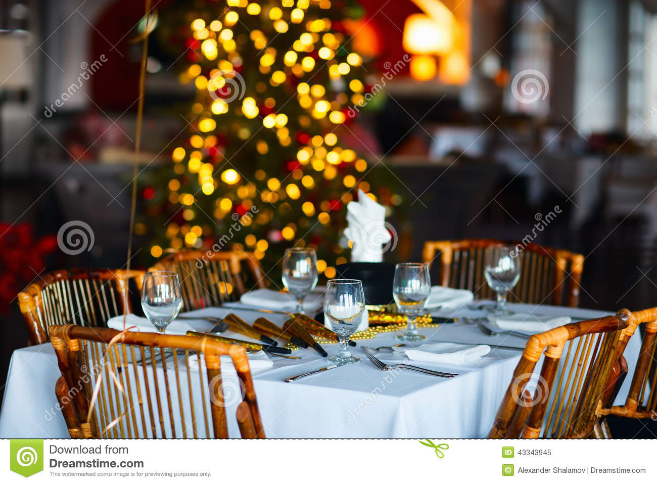 Table Setting For Christmas Party Stock Image Image Of