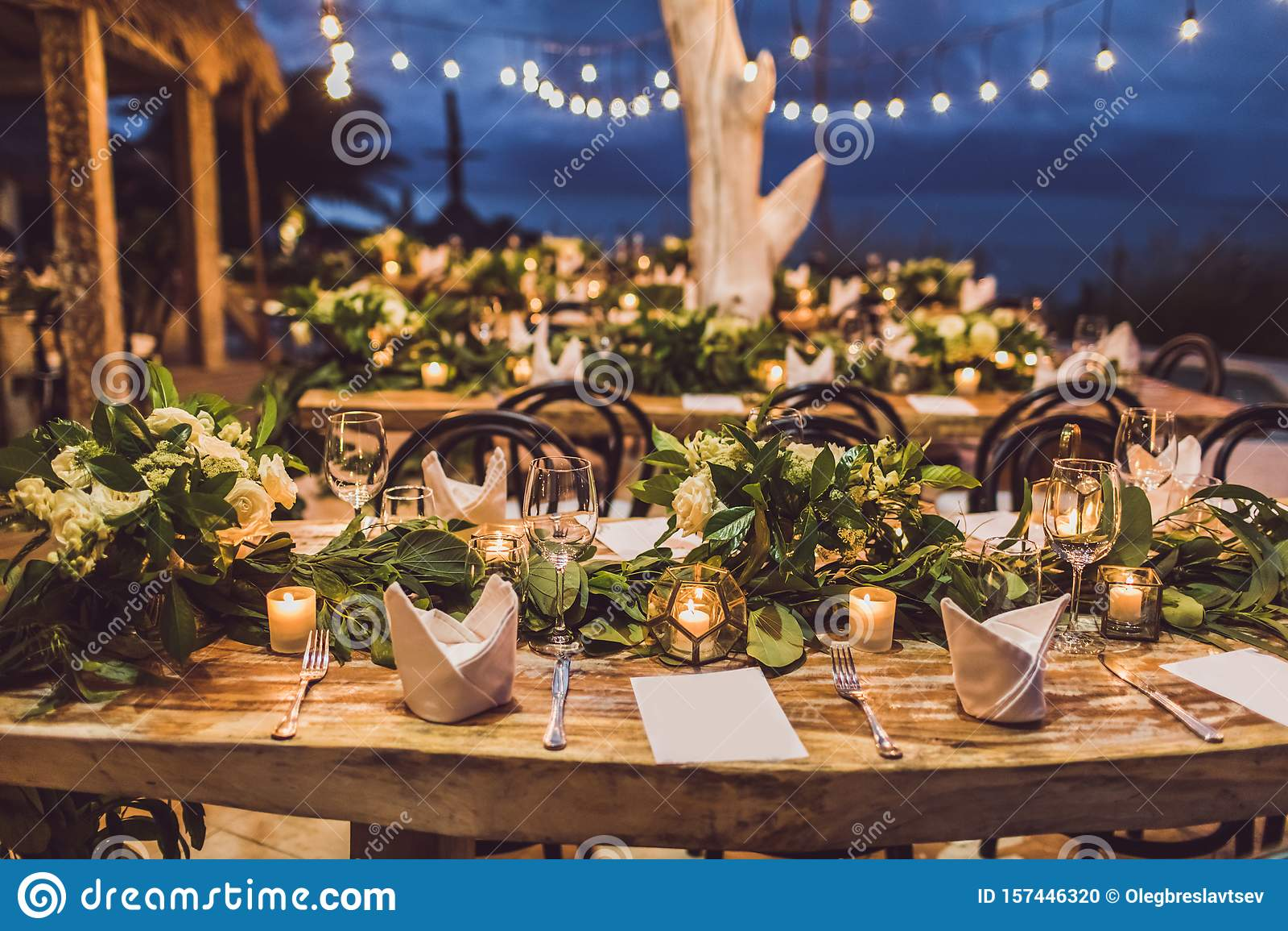 Table setting decoration at night wedding ceremony