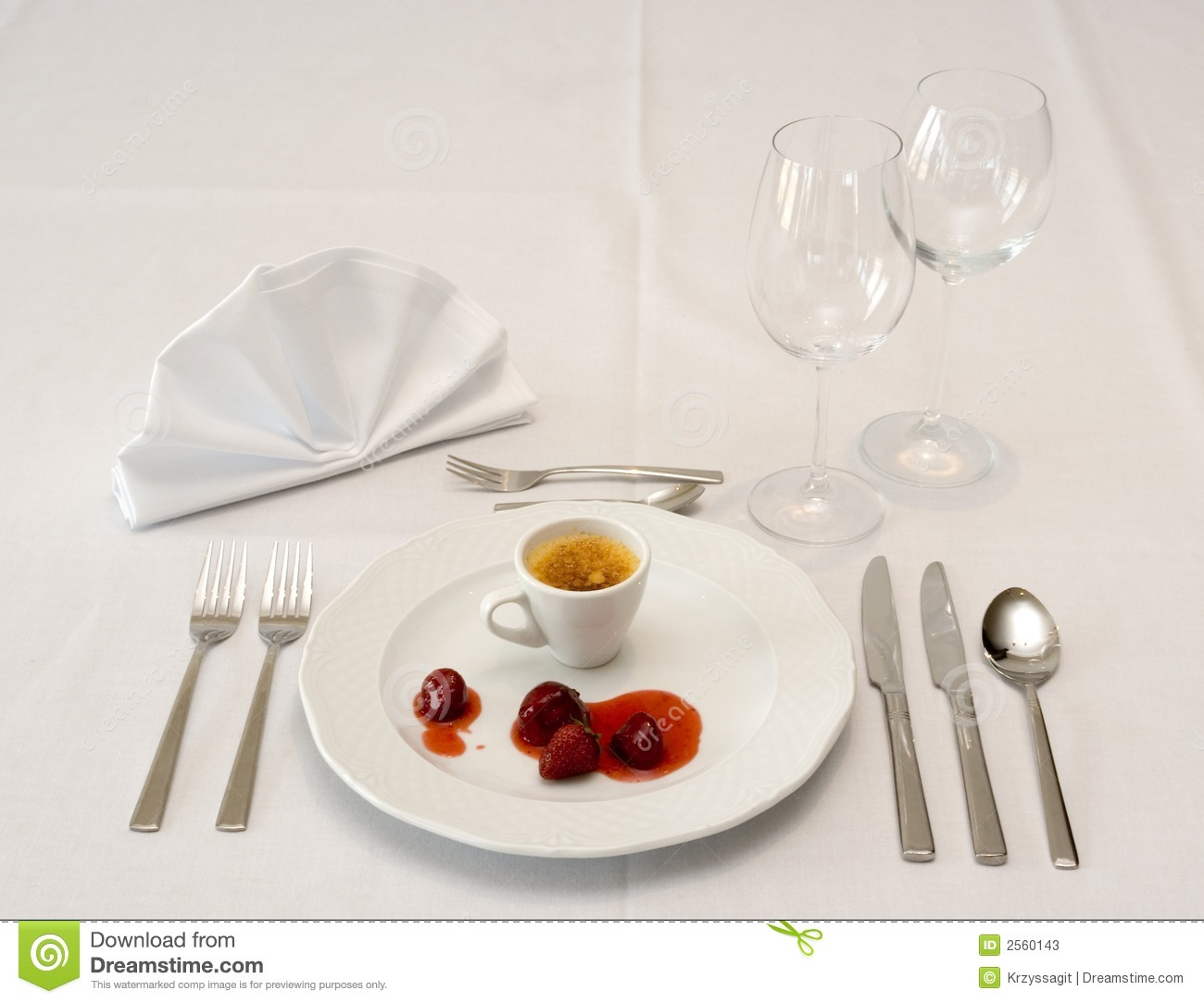Table Setting For Dessert Stock Photos Image 2560143