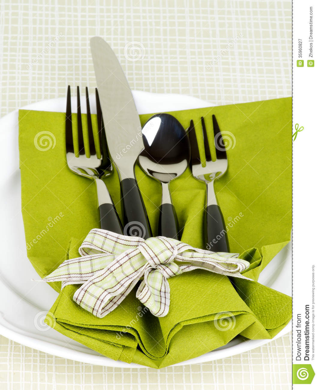 Elegant Table Setting With Fork Knife Spoon And Dessert Fork