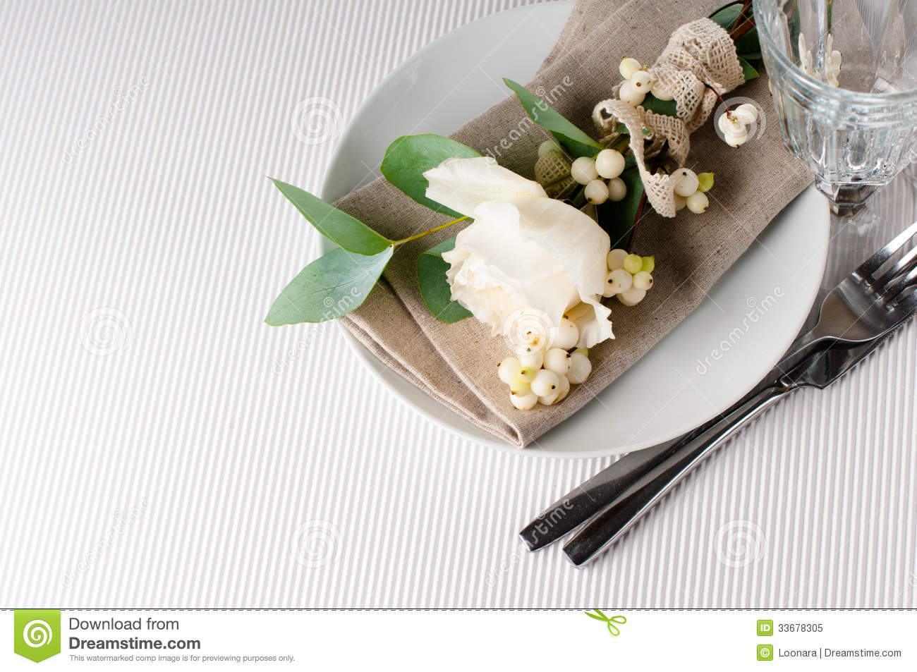 Table Setting Background table setting with floral decoration royalty free stock photo