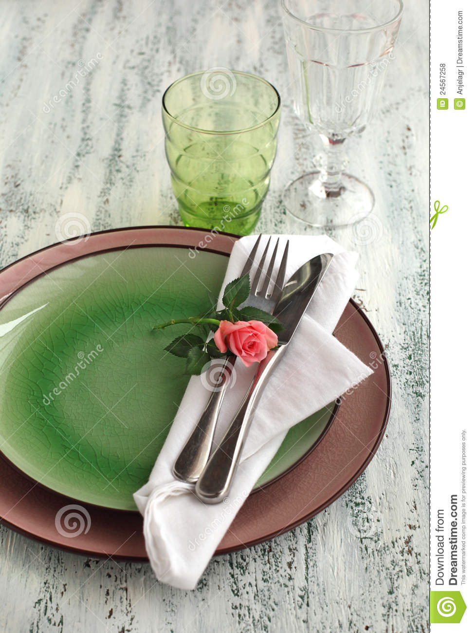 Table setting with fork knife plates and napkin & Table Setting With Fork Knife Plates And Napkin Stock Photo ...