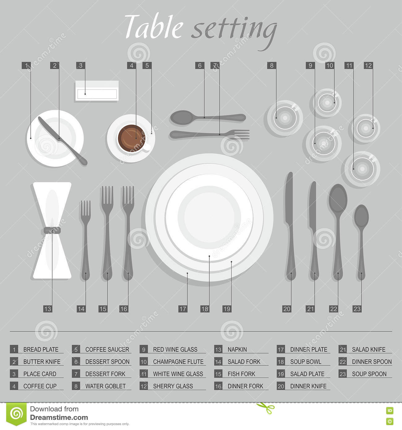 Table setting stock vector. Illustration of food, breakfast - 81685649