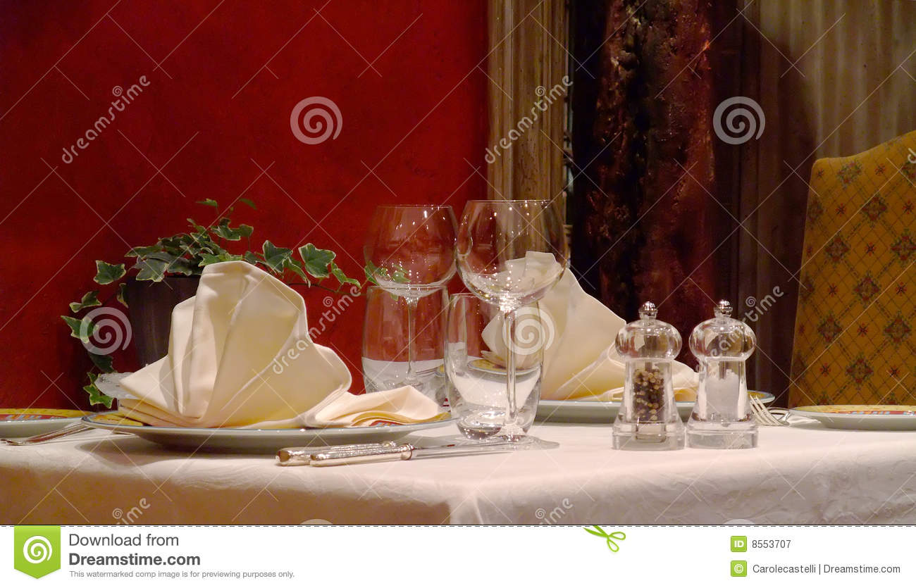 Table Setting In French Table Setting In A French Restaurant Royalty Free Stock
