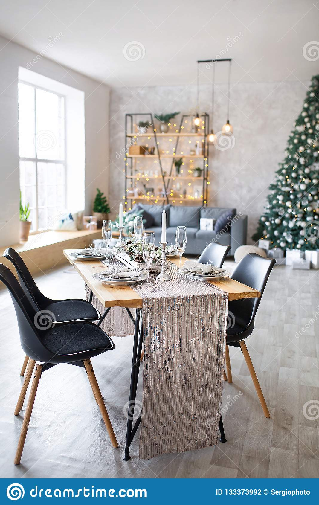 Fine Table Setting With Holiday Decorations Preparation For Machost Co Dining Chair Design Ideas Machostcouk