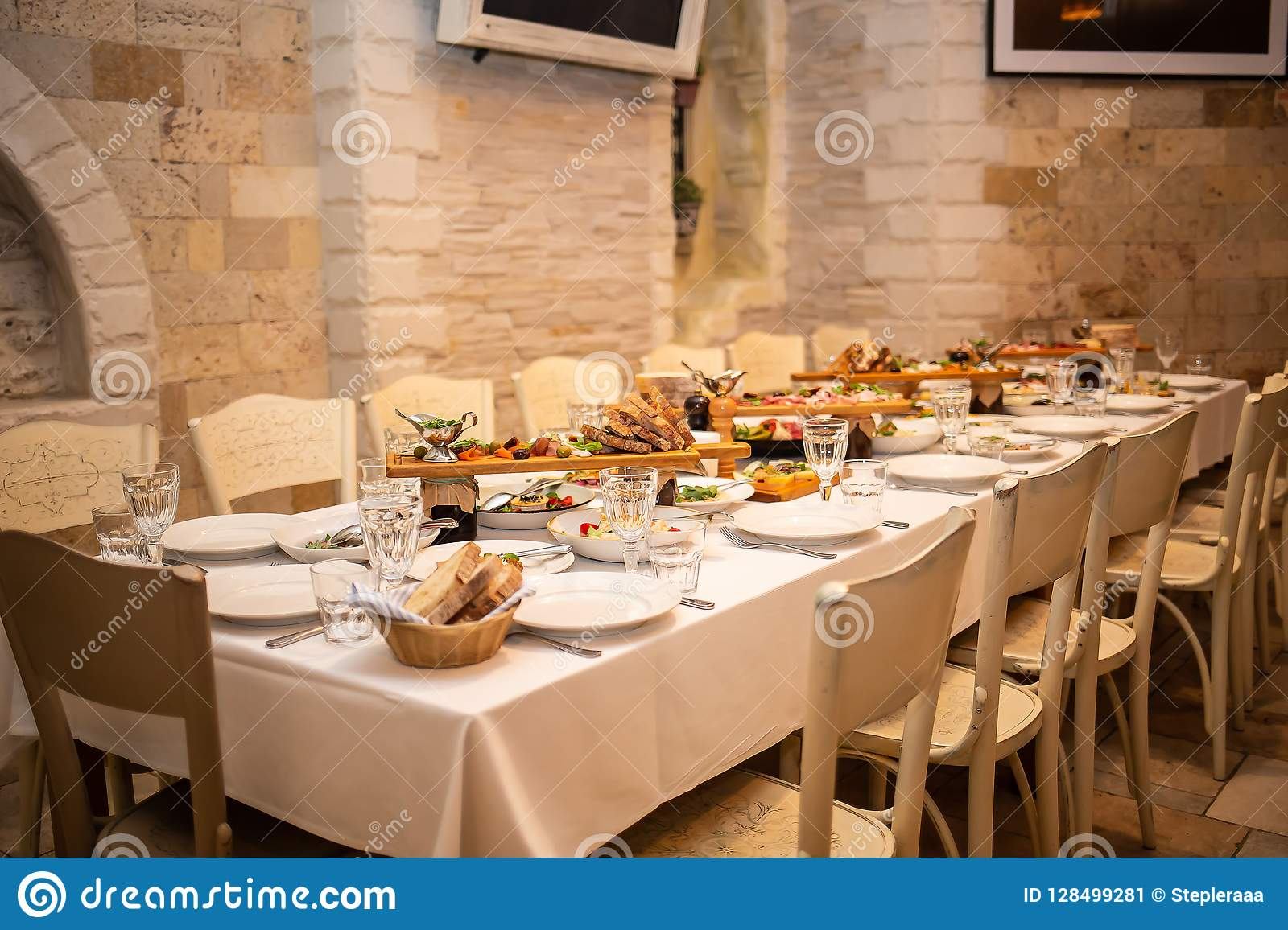 Table Setting In An Italian Restaurant Stock Image Image Of Sauce Dining 128499281