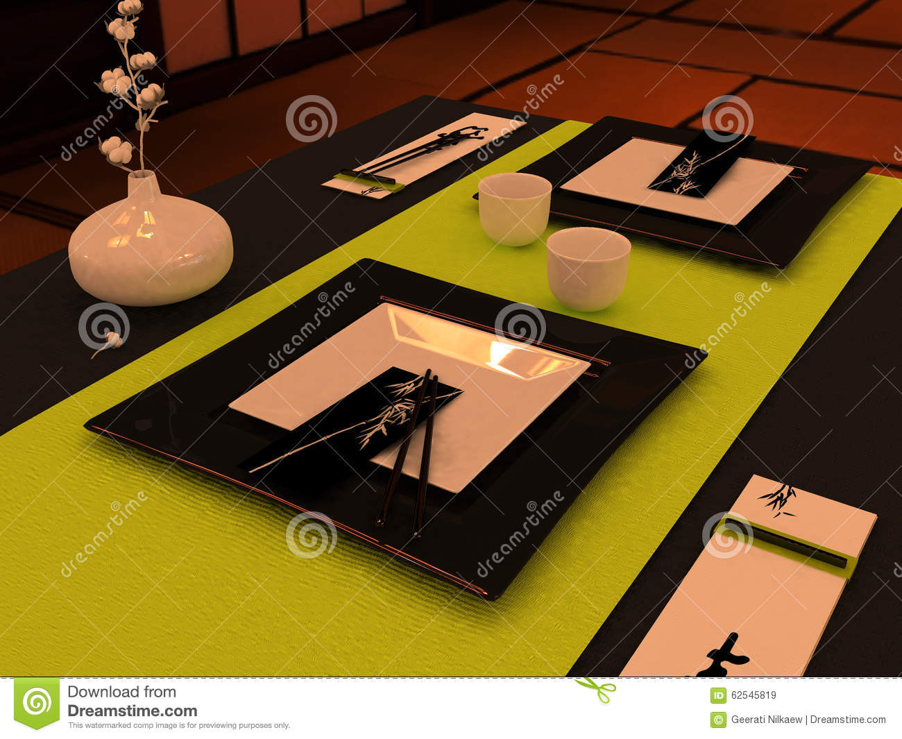 Table Setting In Japanese Style Stock Photo - Image: 62545819