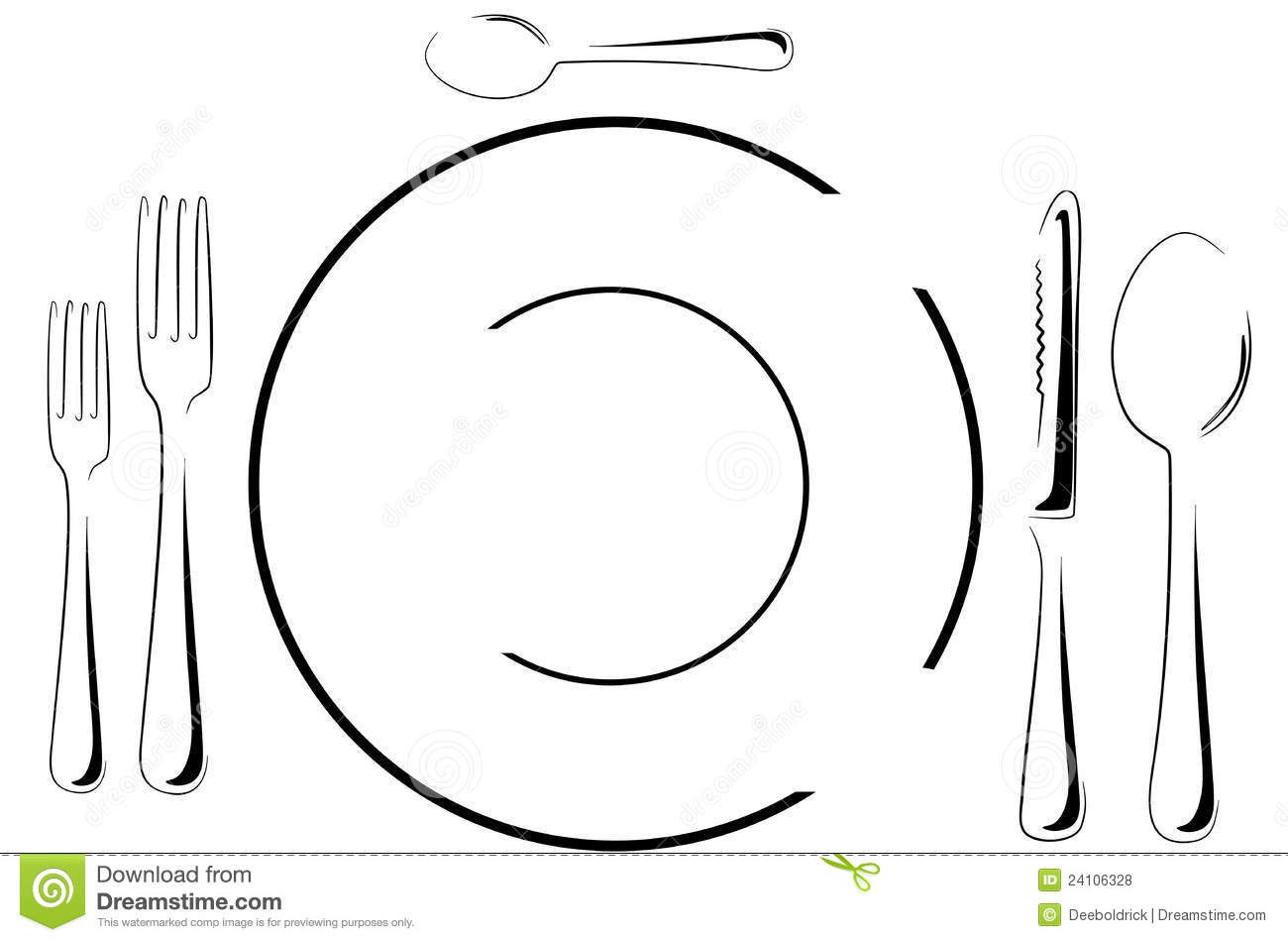 Table Setting In Line Art Royalty Free Stock Photos Image 24106328