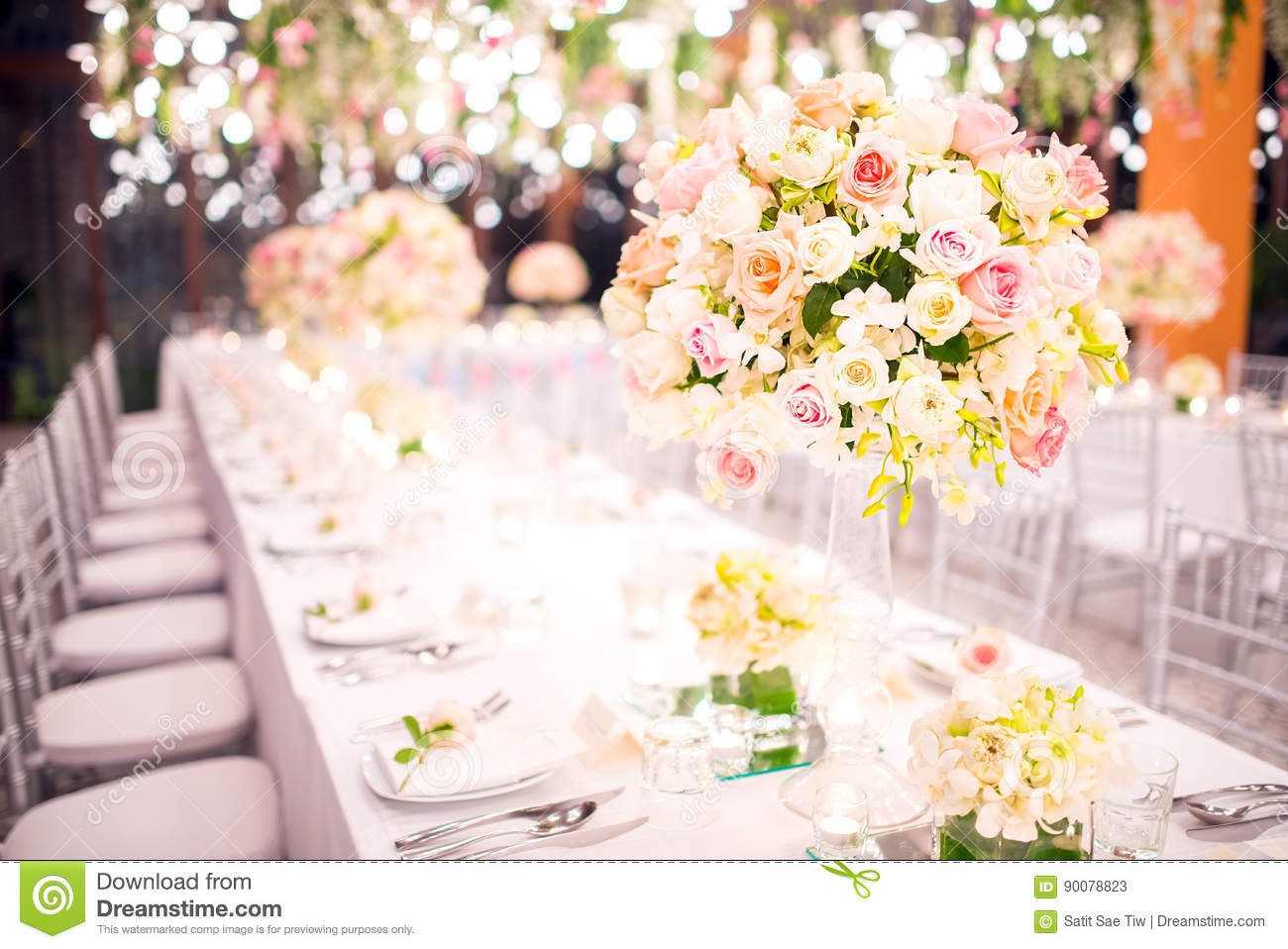 Table setting at a luxury wedding and Beautiful flowers