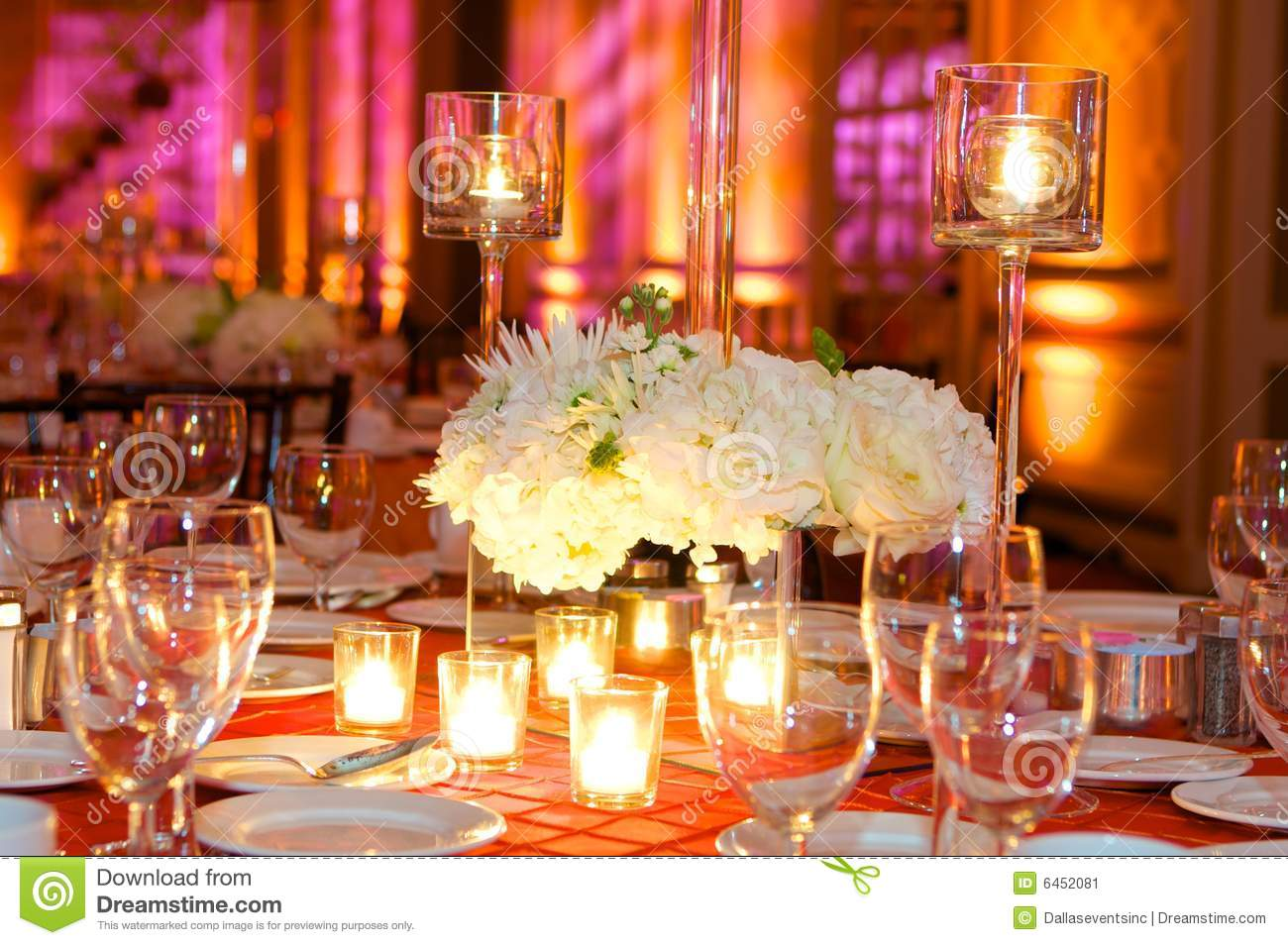 table setting at a luxury wedding reception stock image. Black Bedroom Furniture Sets. Home Design Ideas