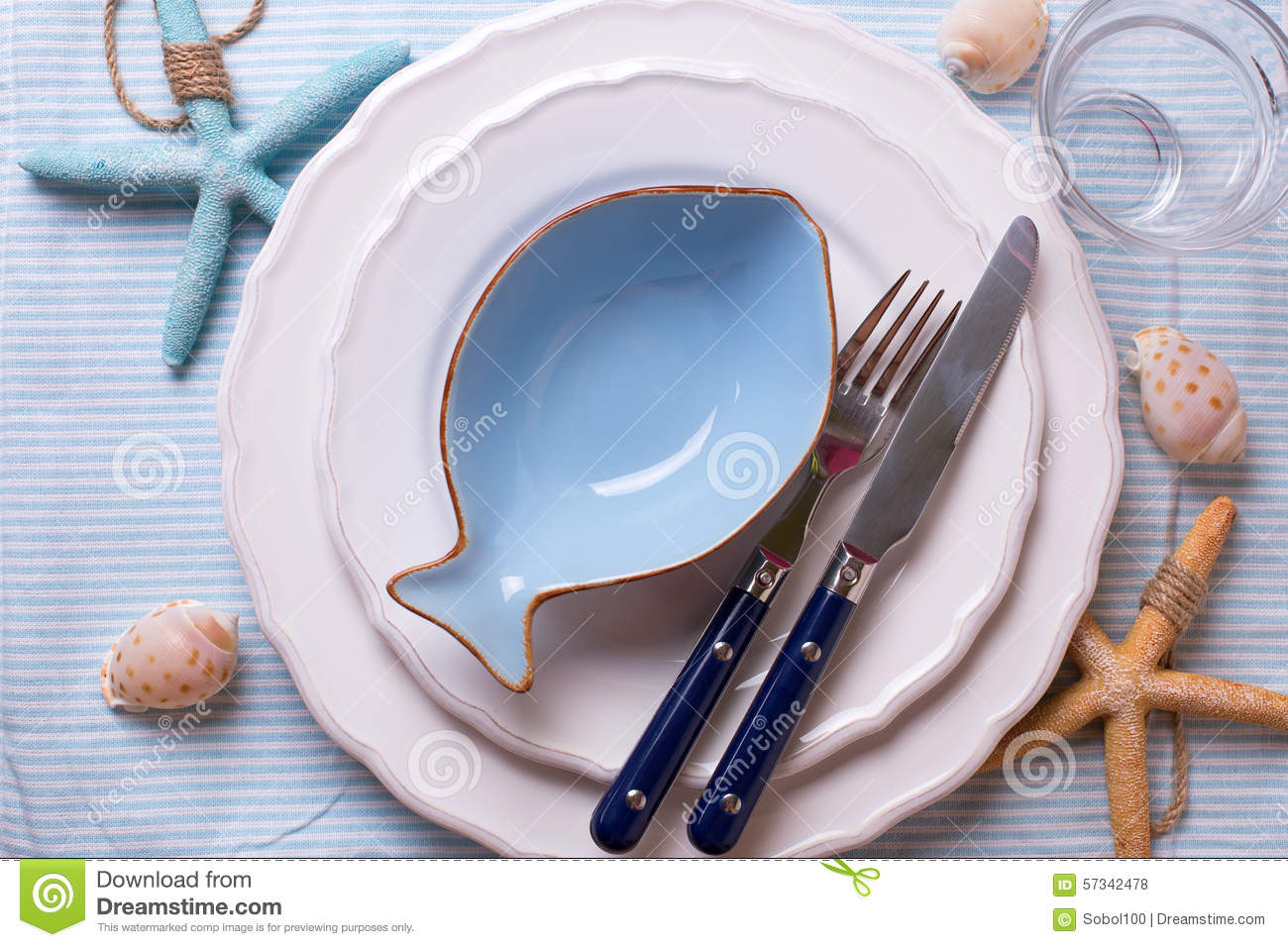 Nautical Table Settings Table Setting In Nautical Style Stock Photo Image 57342478