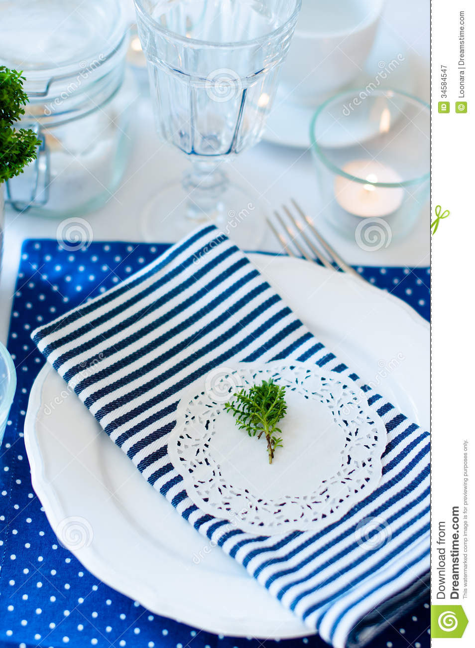 Table Setting In Navy Blue Tones Royalty Free Stock