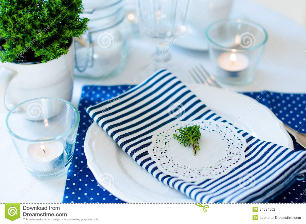 Table Setting In Navy Blue Tones Stock Photo Image 34584602