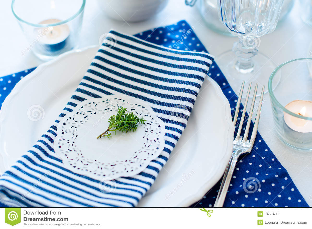 Table Setting In Navy Blue Tones Royalty Free Stock Photos  : table setting navy blue tones breakfast napkins cups plates white background 34584898 from www.dreamstime.com size 1300 x 953 jpeg 183kB