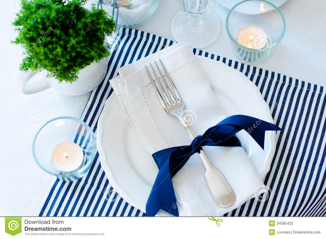 Table setting in navy blue tones. Elegant fork.  sc 1 st  Dreamstime.com & Table Setting In Navy Blue Tones Stock Photo - Image of elegant ...