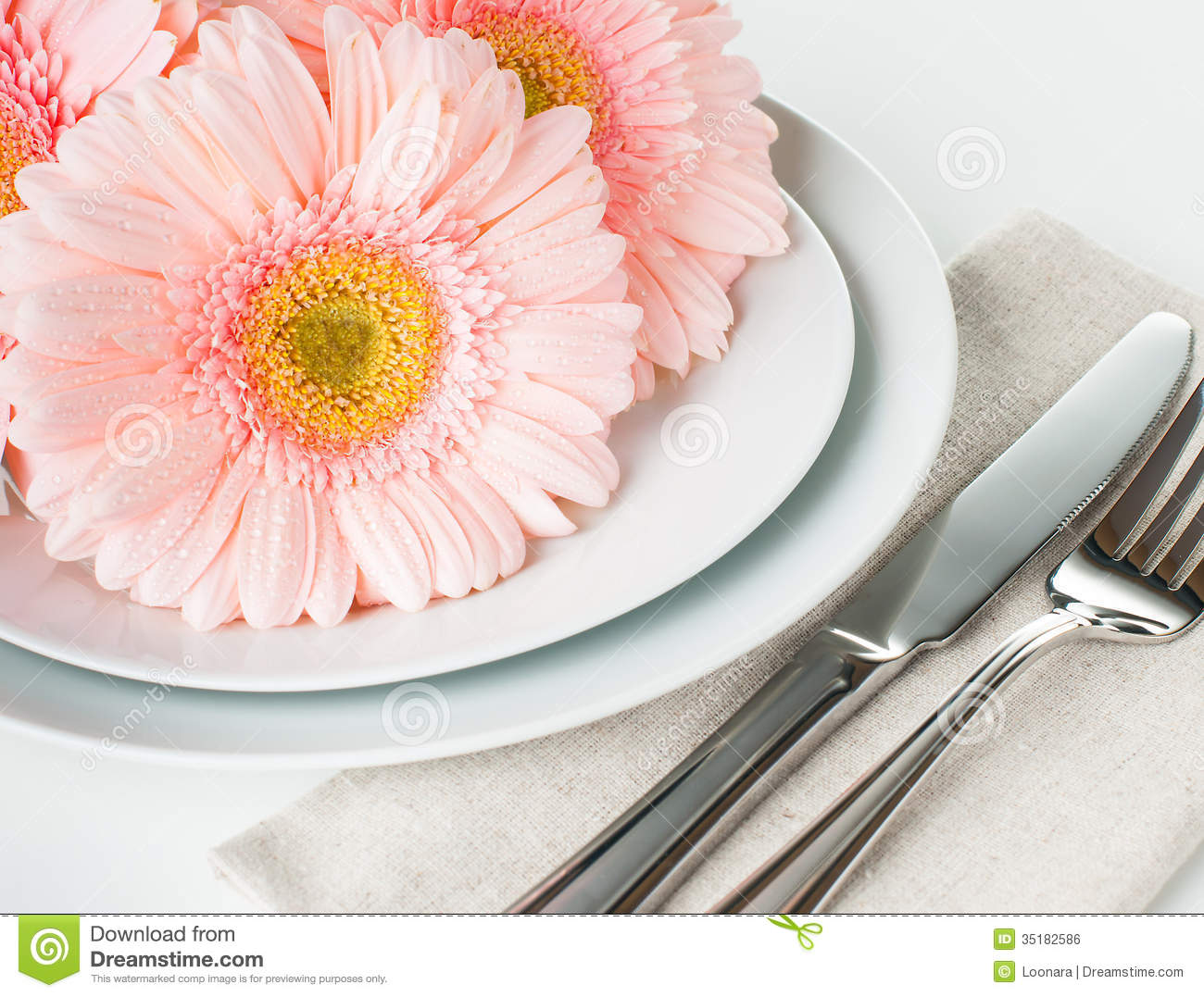 Dinner Table Background table setting with pink gerberas royalty free stock image - image