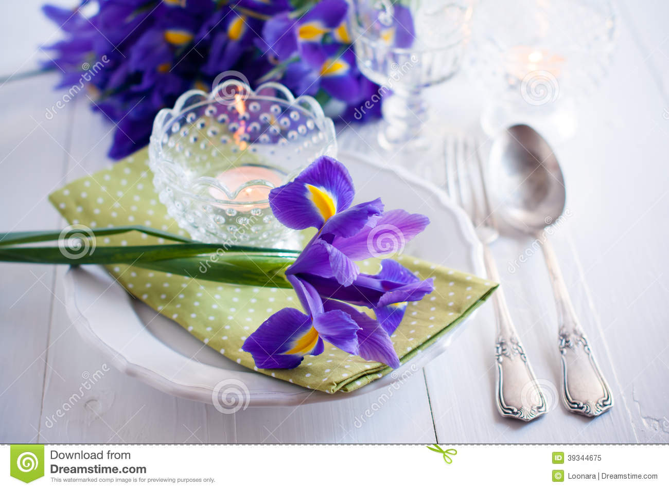 Table Setting With Purple Iris Flowers Stock Image Image Of