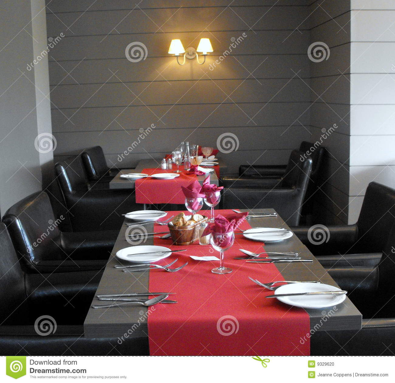 Modern restaurant table setting - A Table Setting At Restaurant Stock Photo