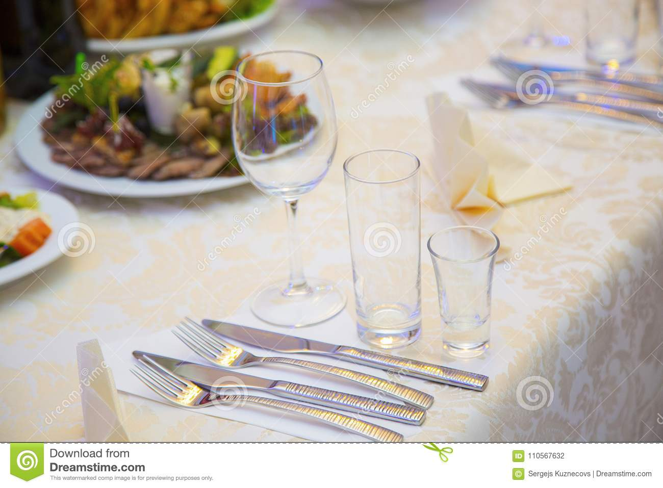 Table setting in a restaurant. Cutlery 8