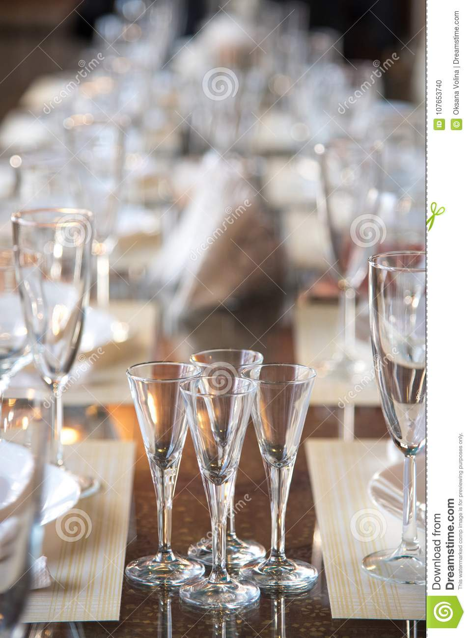 Table Setting In The Restaurant  Including Glasses For