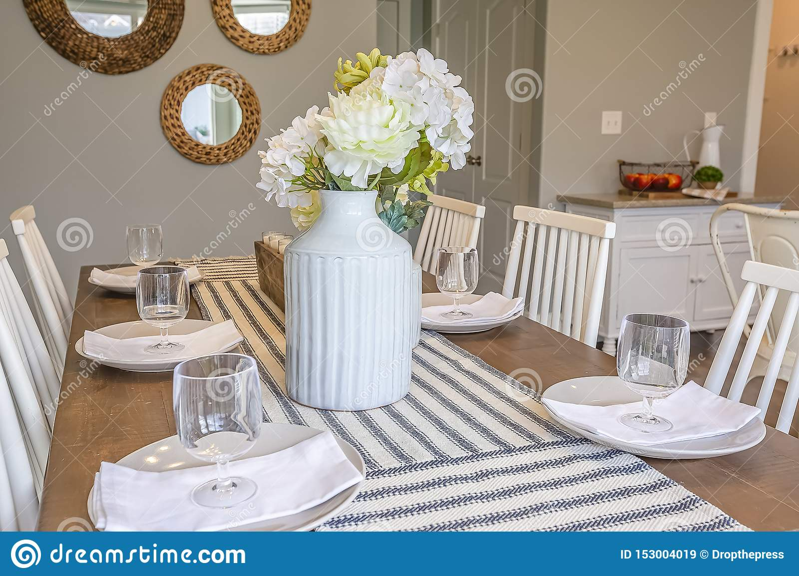 Table Setting With Table Runner Glasses White Plates Napkins And Flowers Stock Image Image Of Glass Wood 153004019