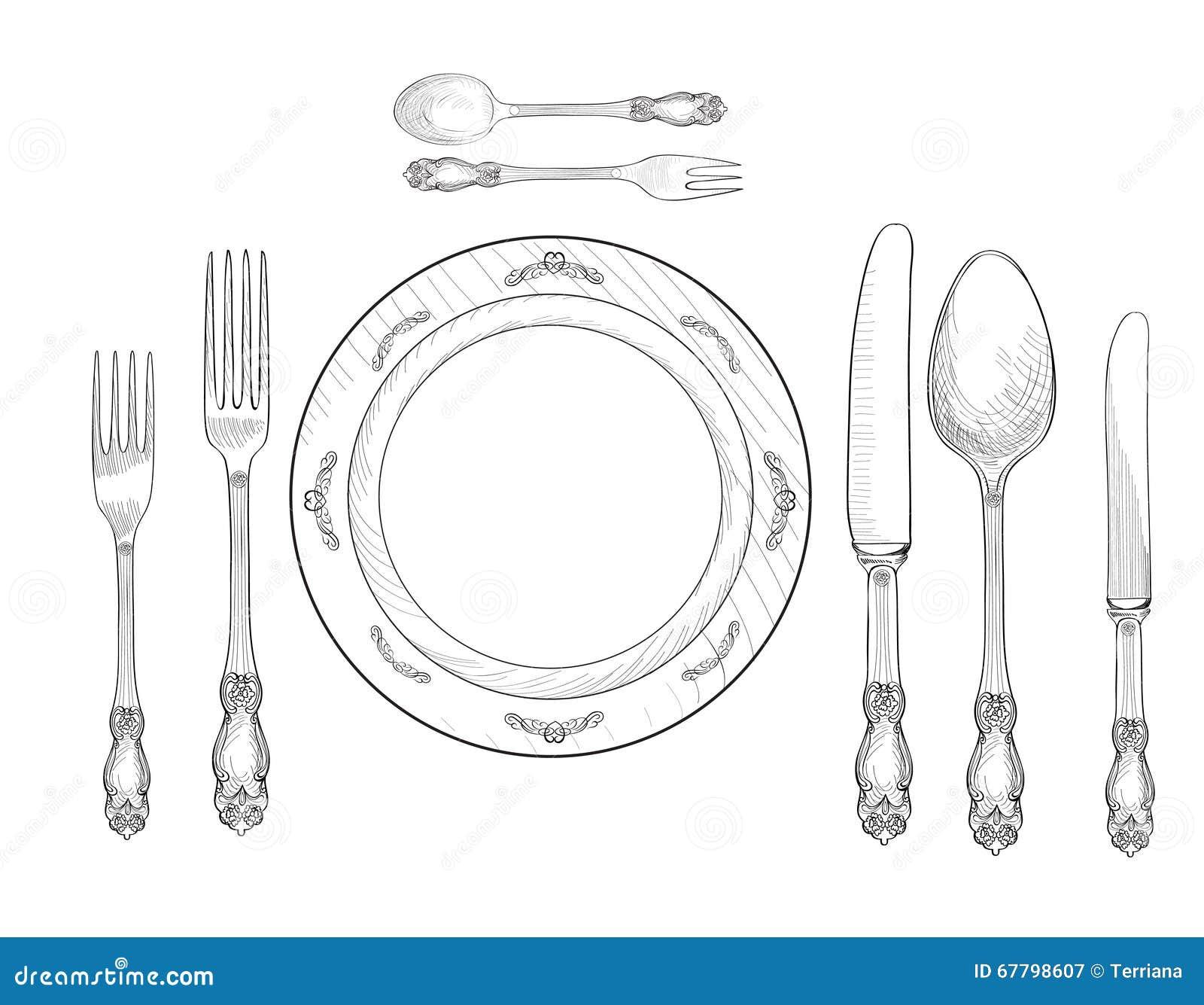 Table setting set fork knife spoon plate sketch set - Set de table rigolo ...