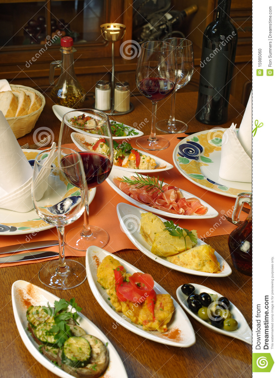 Table setting of spanish tapas stock photo image of for Table in spanish