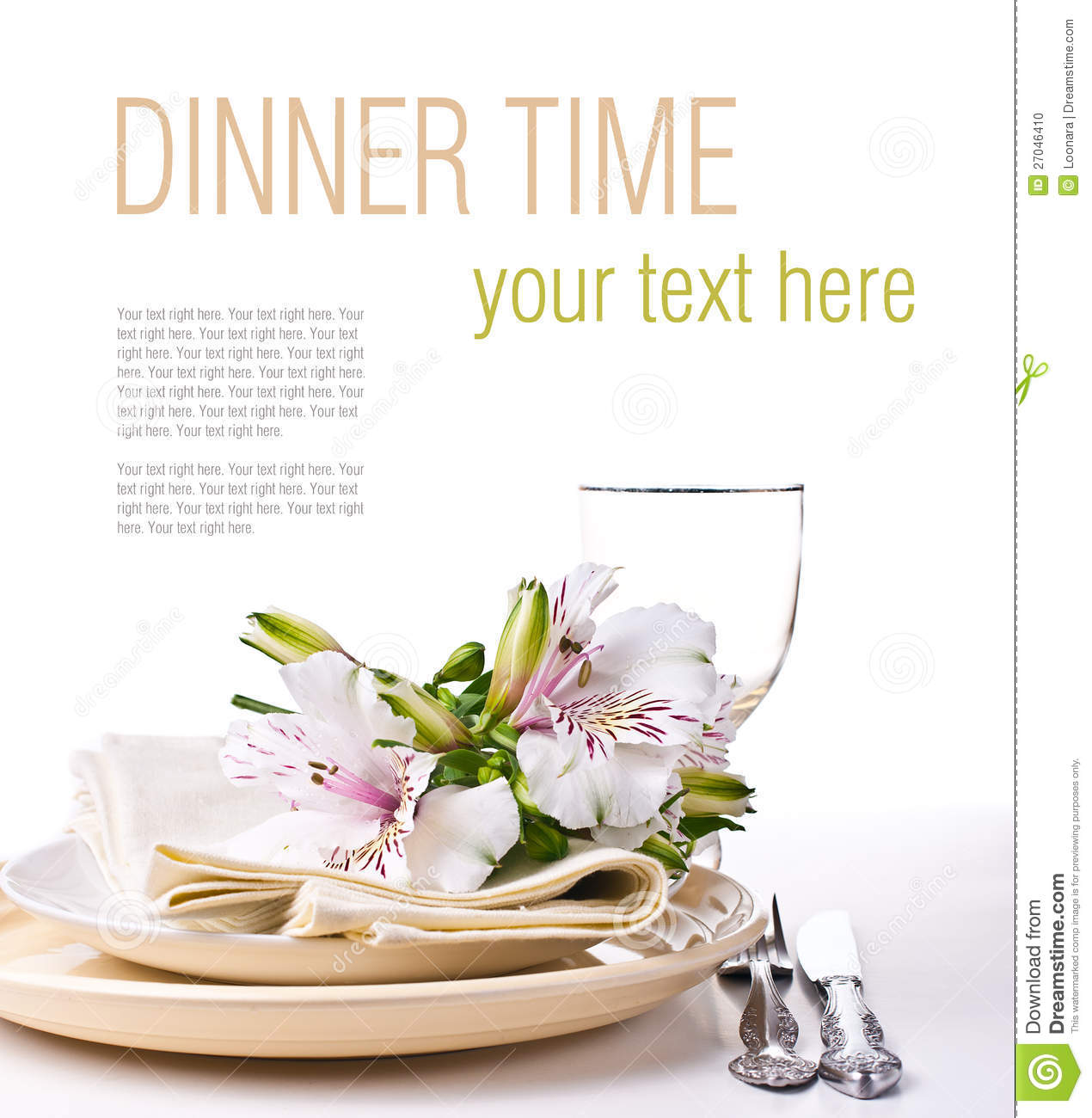 Table Setting Template Stock Photo Image Of Dining Design 27046410