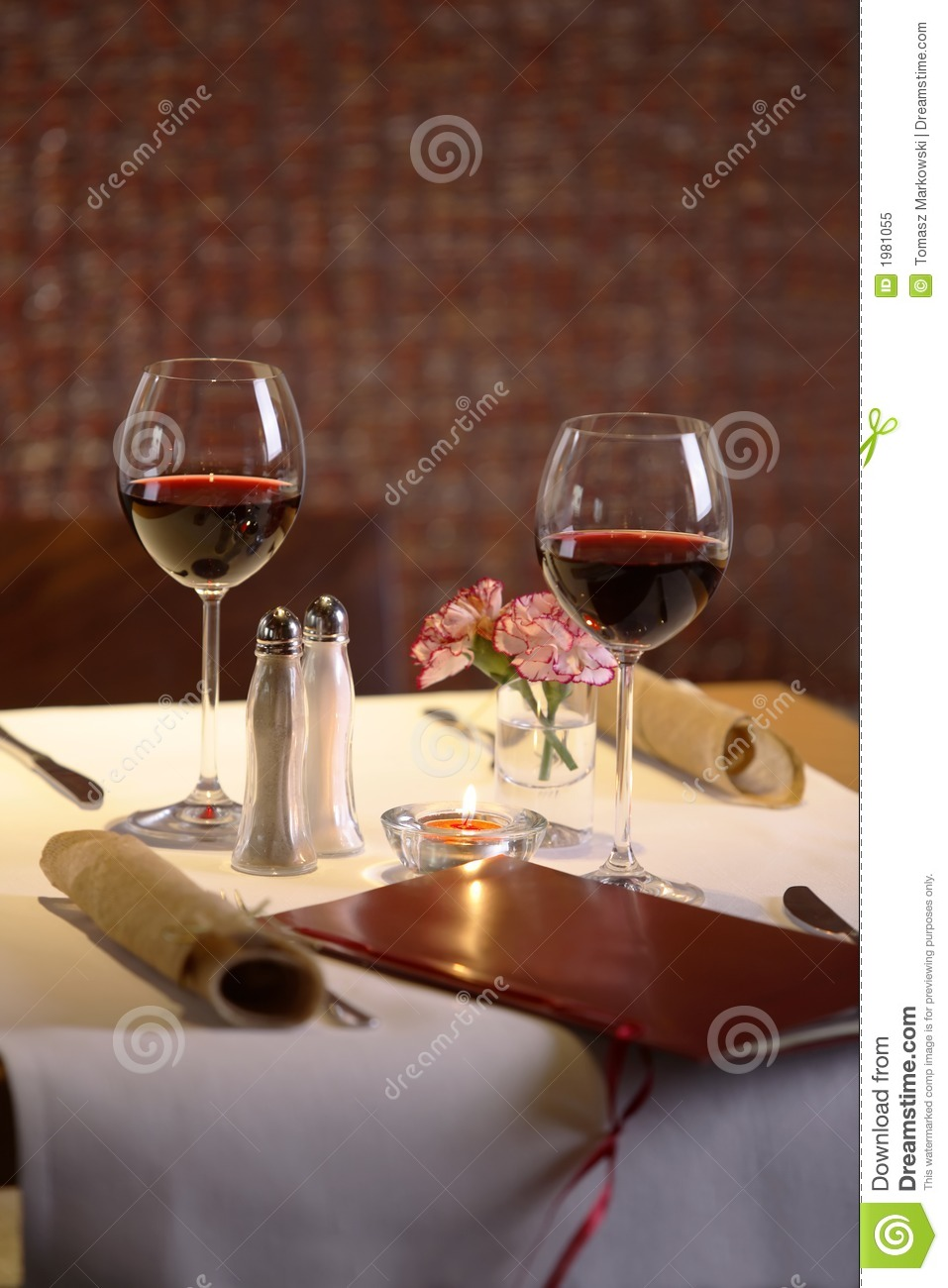 Table Setting For Two With Wine Stock Image Image 1981055