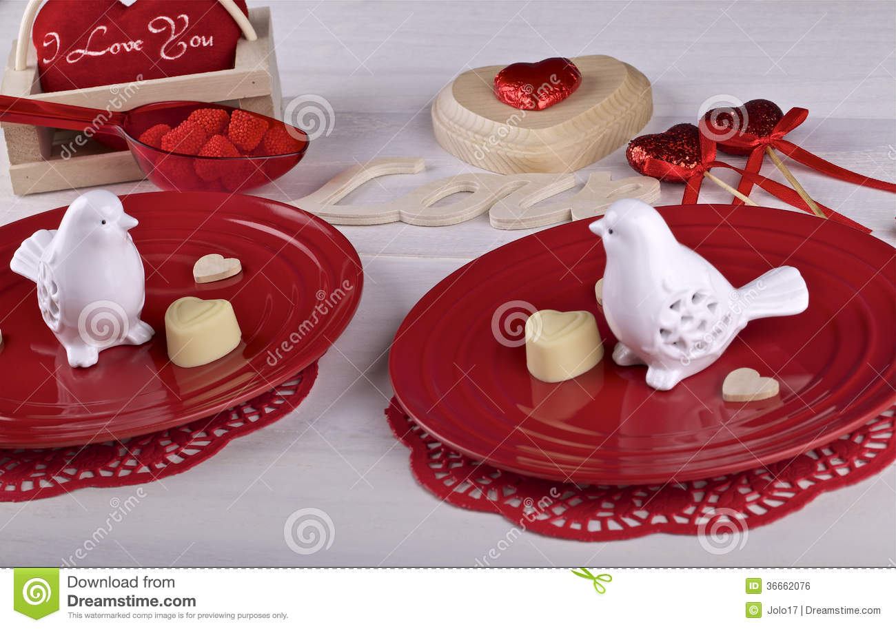 Table Setting For Valentine 39 S Day Dinner Stock Photo