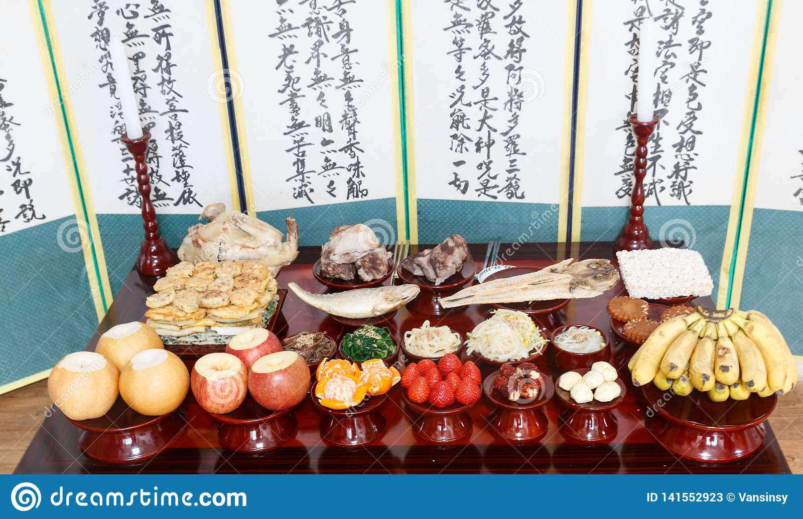 Table Setting With Various Fruits And Foods For Korean