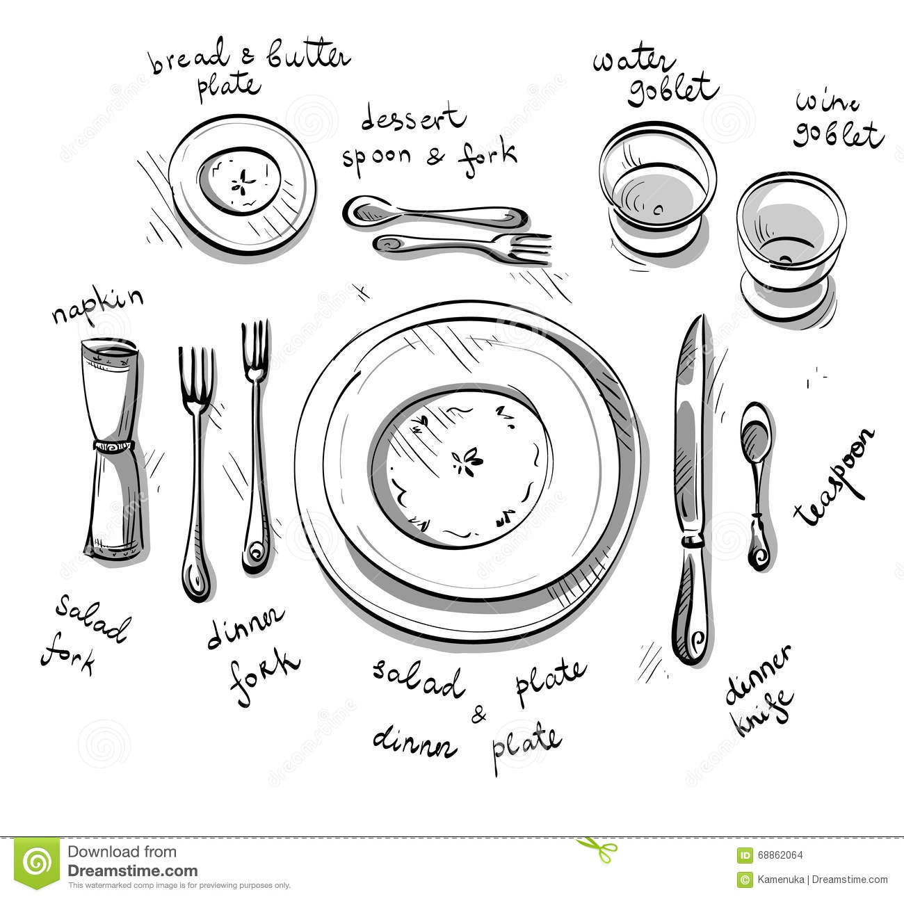 Table Setting Vector Sketch Stock Vector Image 68862064