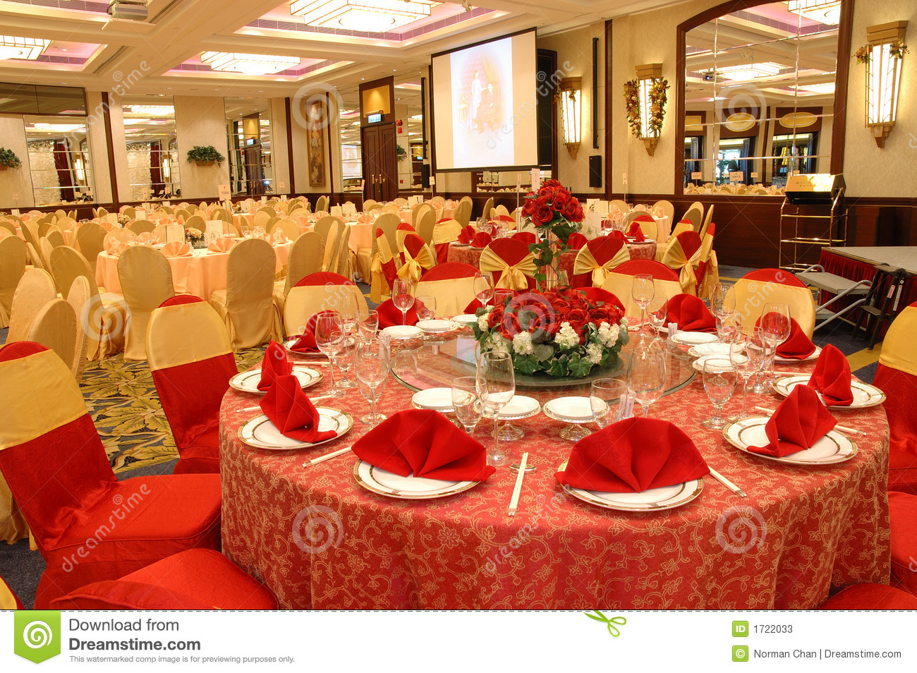 Table setting in wedding banquet stock image