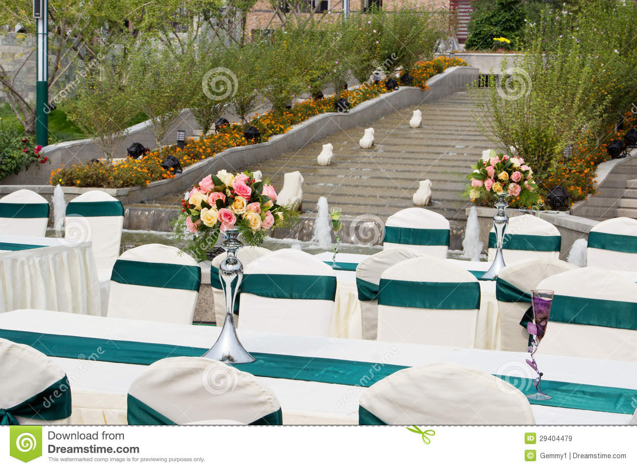 Table Settings For Wedding Or Event Party Outdoor At Park