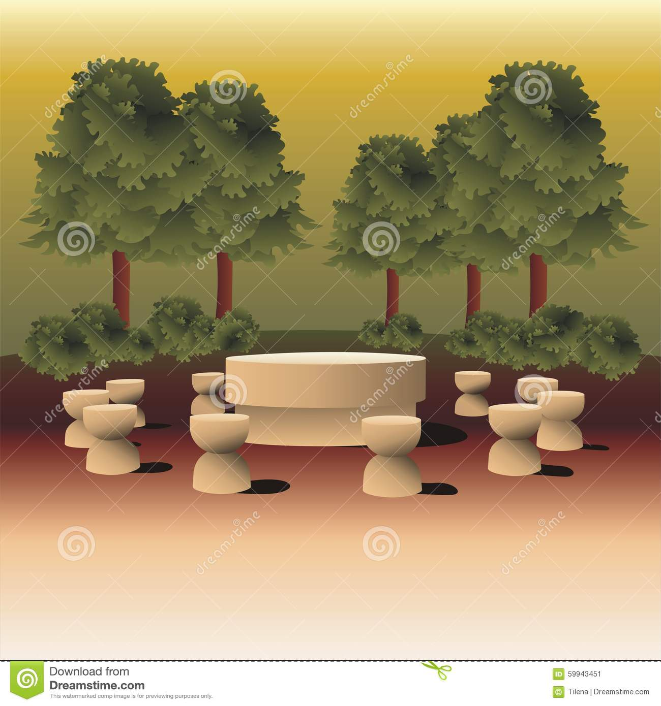 Landscape illustration inspired by Table of Silence sculpture