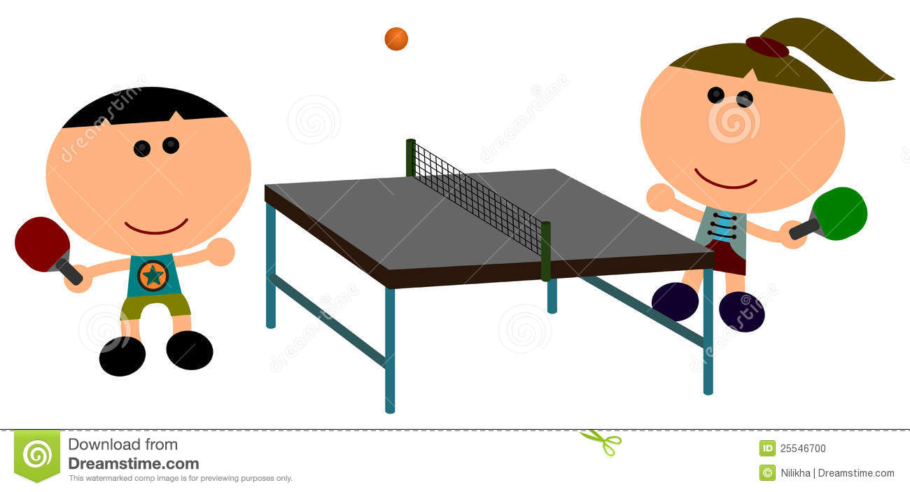 Illustration of two cartoon characters happily plays table tennis.