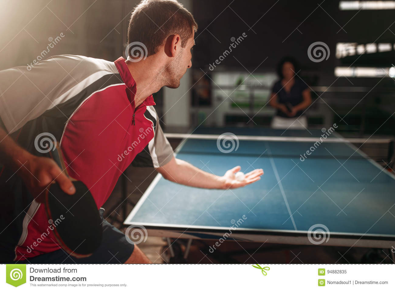 Table Tennis, Male Player With Racket And Ball. Ping Pong Training Indoor