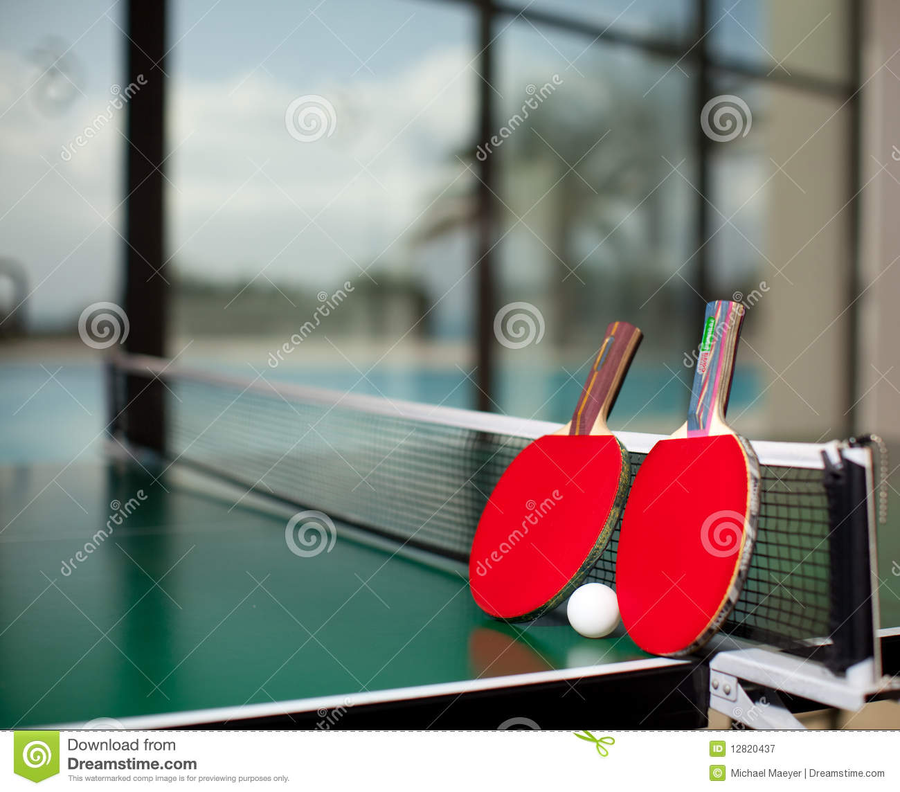 Ping pong table background - Table Tennis Rackets And Ball Royalty Free Stock
