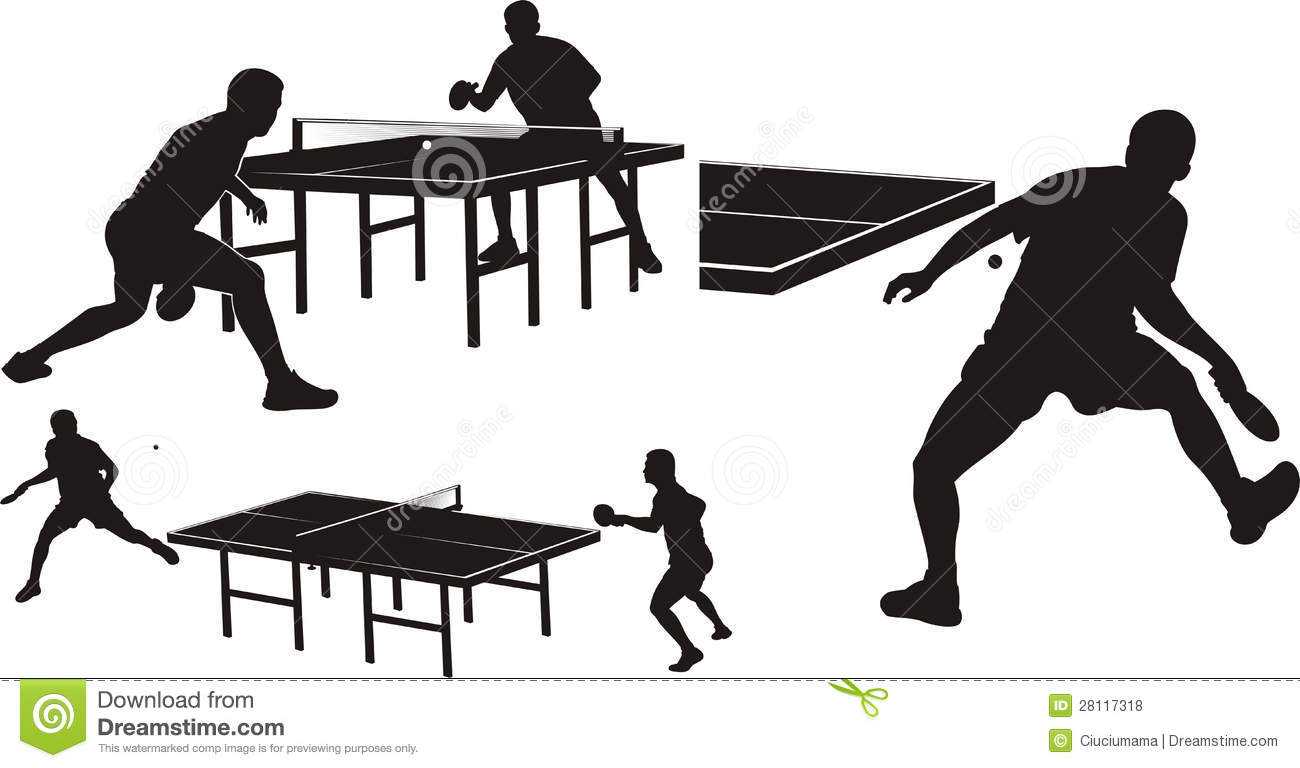 Table Tennis Silhouettes Stock Photo Image Of Equipment