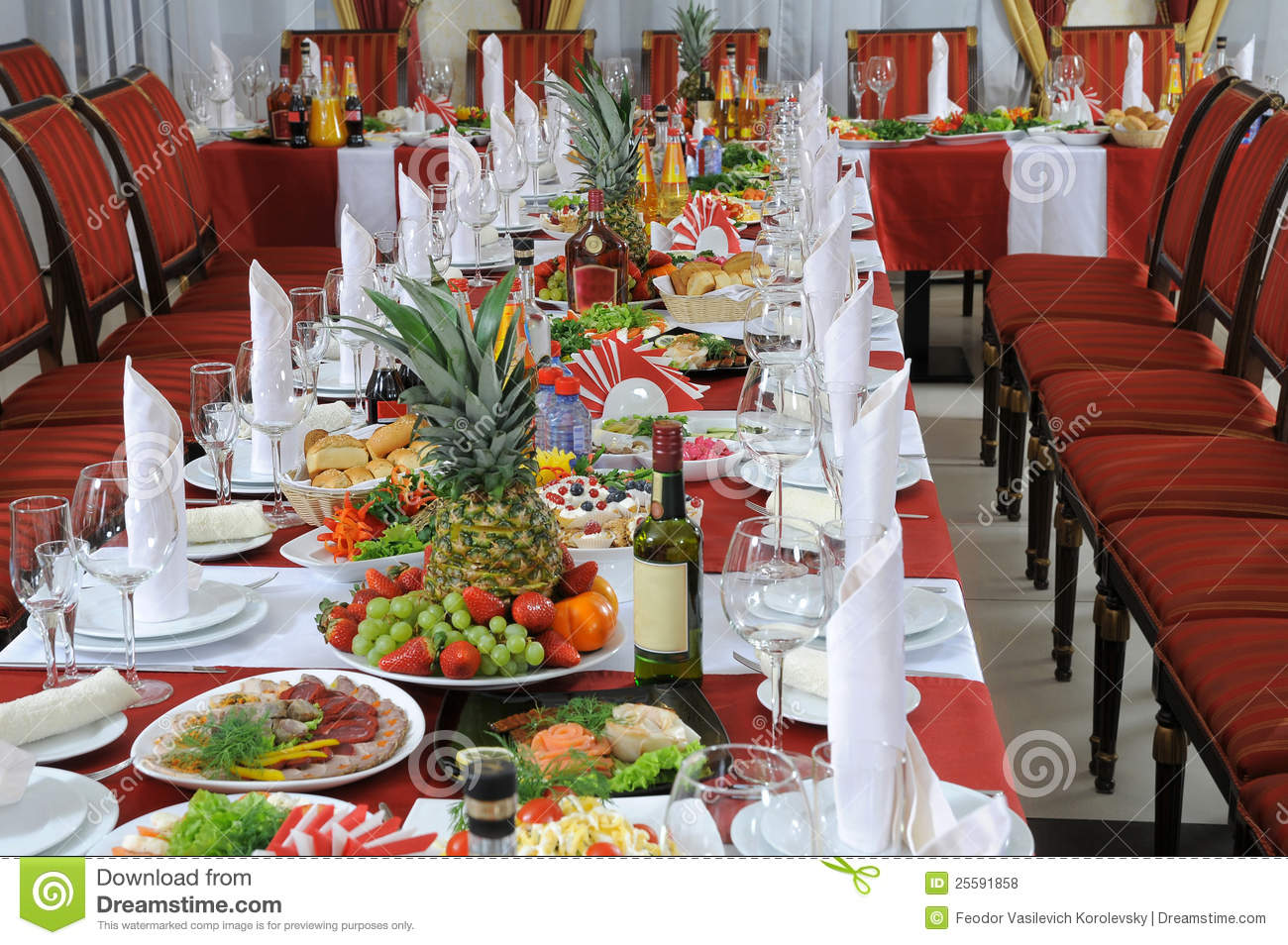 On A Table There Is A Lot Of Food Stock Photo Image Of