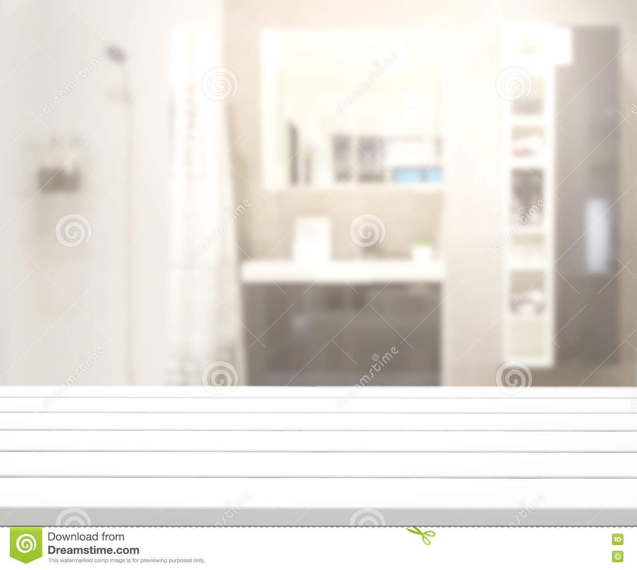 Table Top And Blur Bathroom Of Background Stock Image Image Of