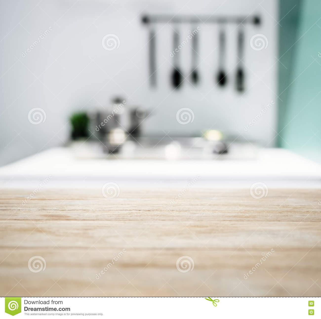 Kitchen Table Top Background table top with blurred kitchen background stock photo - image