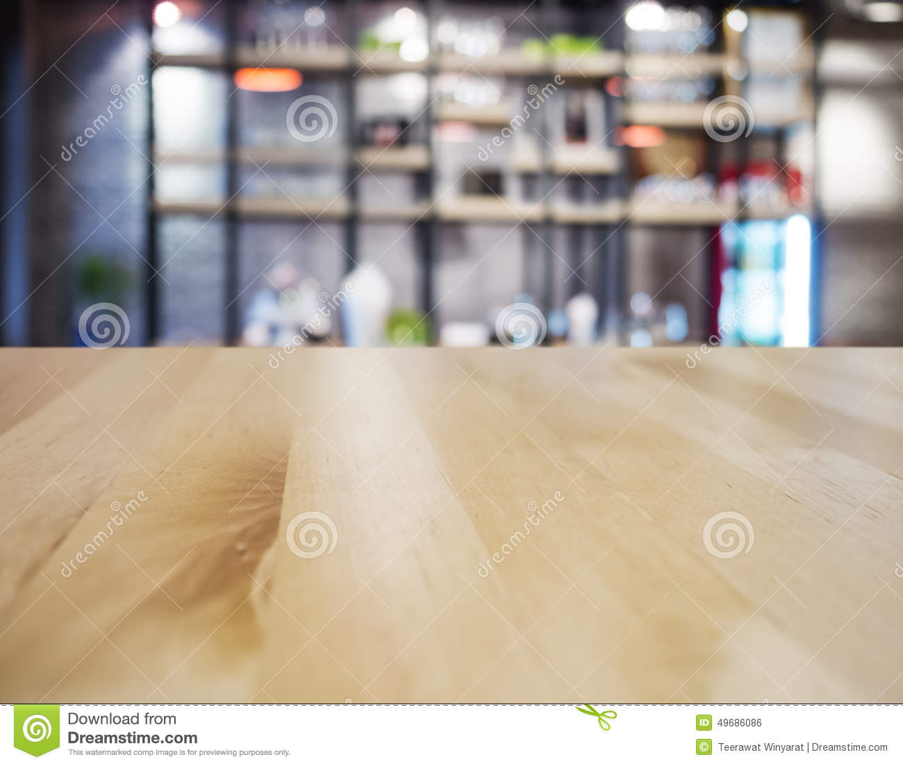 Table Top Counter Bar Restaurant Interior Blurred