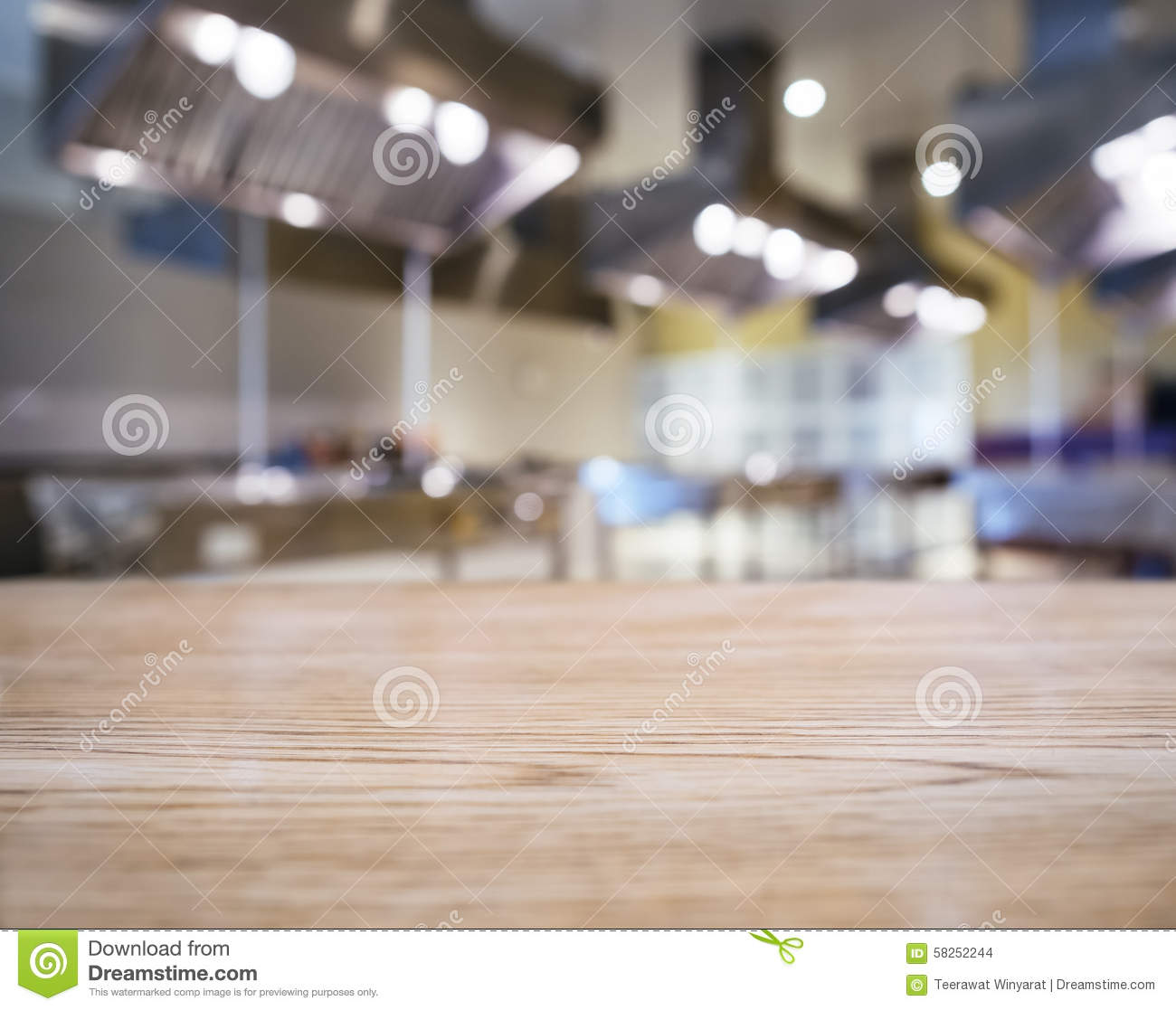 Kitchen Background Image: Table Top Counter Blurred Kitchen Background Stock Photo